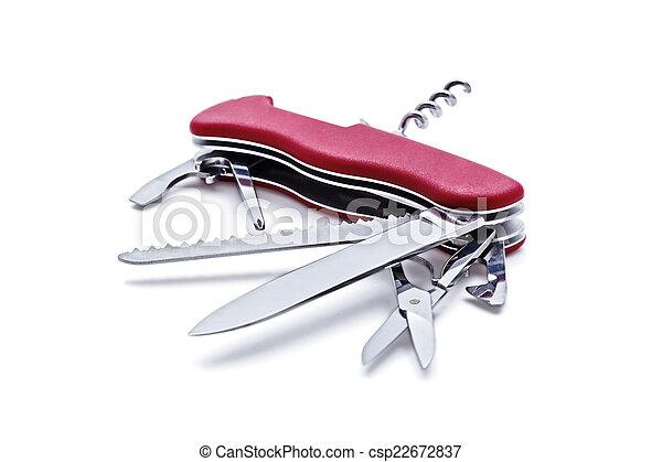 Cuchillo del ejército suizo aislado - csp22672837