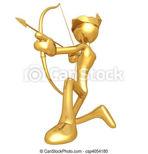sujeito, arqueiro, ouro - csp4054180