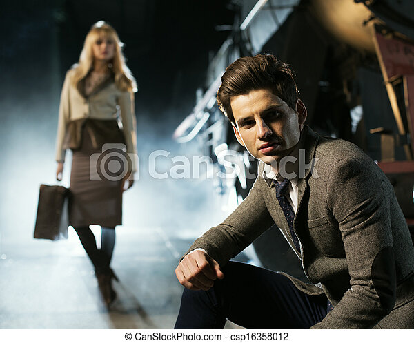 sujeito, mulher, loiro, fundo, bonito - csp16358012