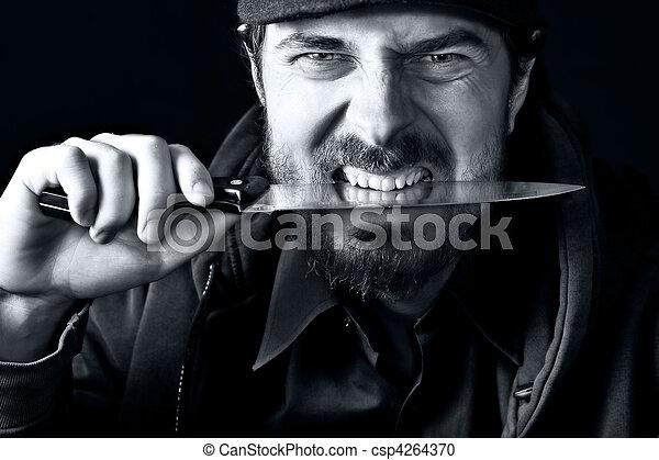 sujeito, resistente, faca - csp4264370