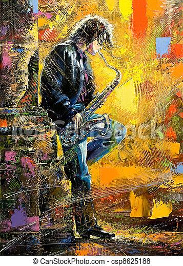 sujeito, saxofone, jovem, tocando - csp8625188
