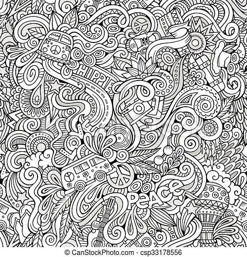 sujet, style, thème, dessin animé, hippie, hand-drawn, doodles - csp33178556