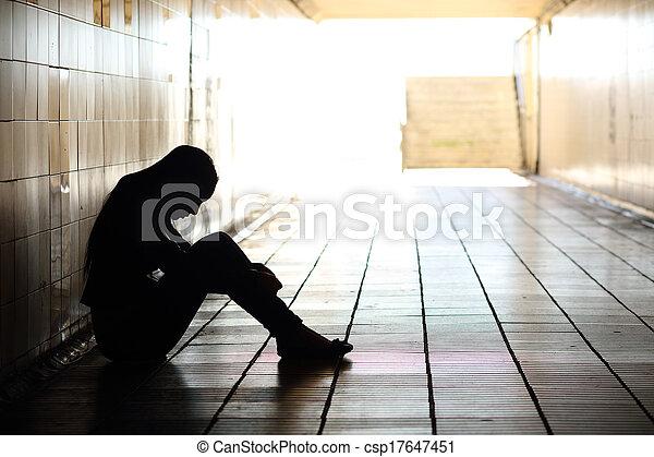 sujo, deprimido, dentro, sentando, túnel, adolescente - csp17647451