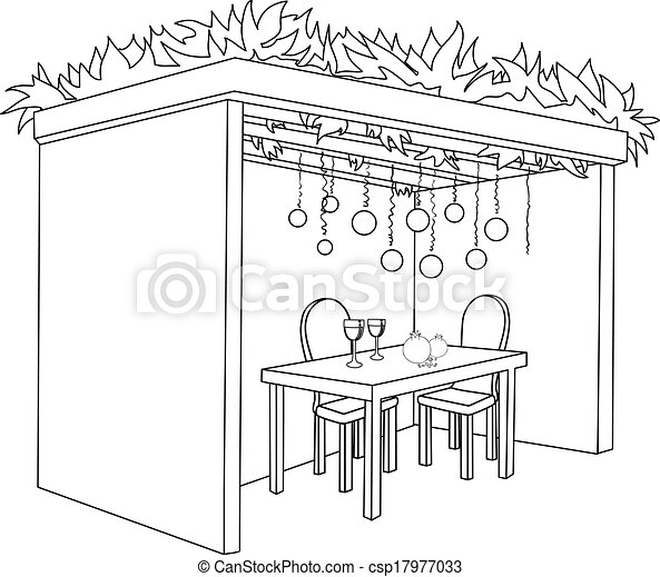 Sukkah For Sukkot With Table Coloring Page - csp17977033
