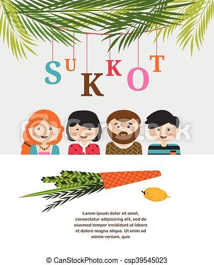 Sukkot, judío, ilustración, vector, ornamentos, sukkah, adornado ...