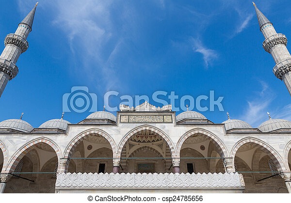 Suleymaniye Mosque minarets and blue sky in Istanbul - csp24785656