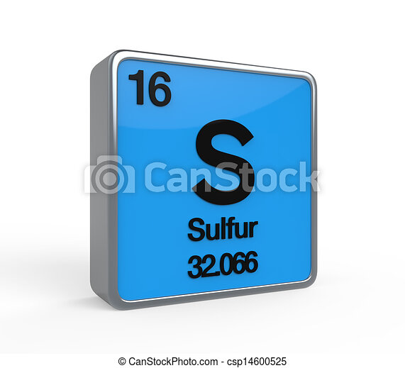Sulfur Element Periodic Table Isolated On White Background 3d Render