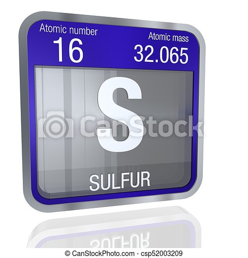 Sulfur Symbol In Square Shape With Metallic Border And Transparent
