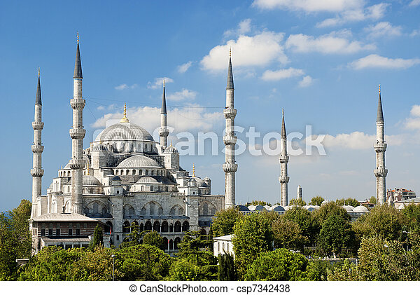 sultan ahmed mosque in istanbul turkey - csp7342438