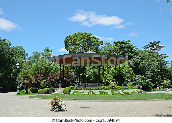 Sultry summer in the city park. Summer park jardin du grand-rond in ...