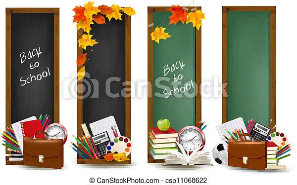 De vuelta a la escuela. Cuatro estandartes con suministros escolares y hojas de otoño. Vector. - csp11068622