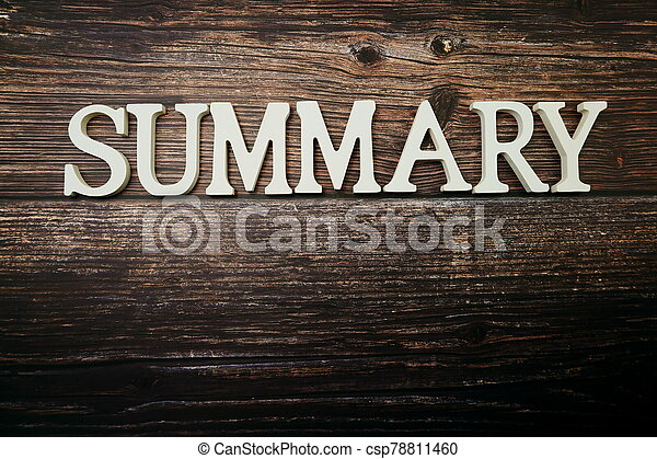 Summary alphabet letters on wooden background - csp78811460
