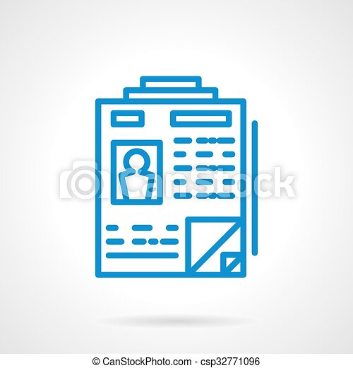 Summary of applicants vector icon blue line style. Personal document ...