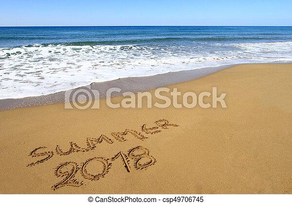 Summer 2018 Written On Sandy Beach