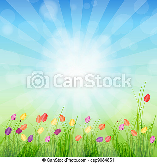 Summer Abstract Background with grass and tulips against sunny sky. Vector illustration. - csp9084851