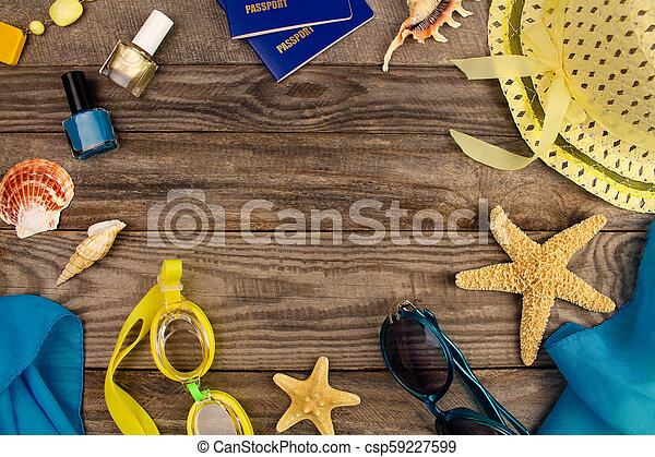 Summer accessories on wooden old background. Top view. - csp59227599