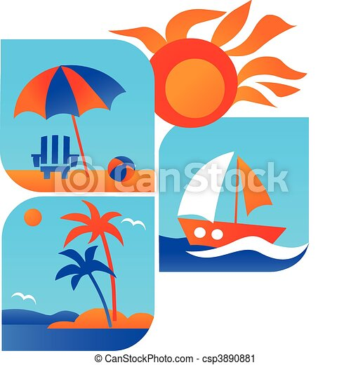 Summer And Travel Icons Of Beach Sea 1 Vector