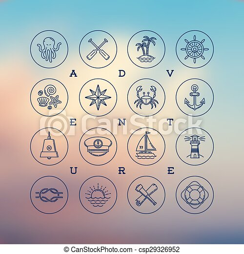 Summer And Travel Signs And Symbols Line Drawing Vector Icons
