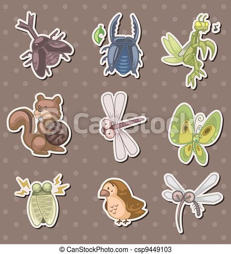summer animal stickers - csp9449103