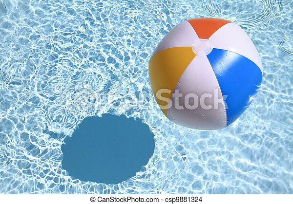 Summer background. Beach Ball on the swimming Pool - csp9881324