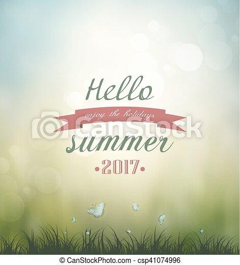 Summer Background Grass, Flower And Butterflies - csp41074996