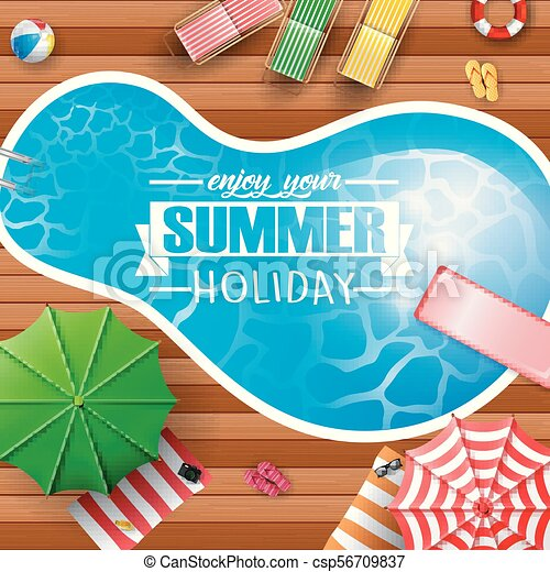 Vector illustration of summer background with swimming pool