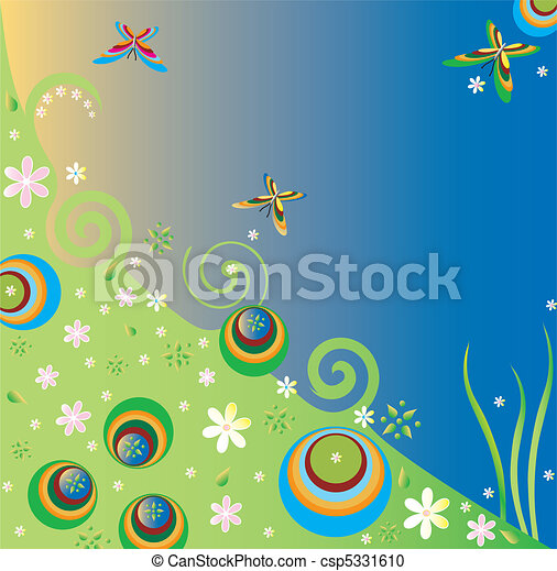 Summer backgrounds spring background with flowers and butterflies summer backgrounds csp5331610 voltagebd Images