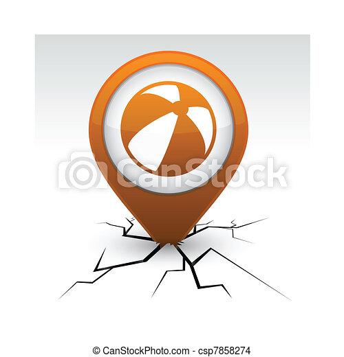 Summer balloon orange icon in crack. - csp7858274