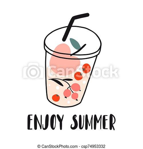 summer., bayas, fresco, gozar, fruits, bebida fría - csp74953332