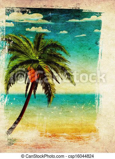 Summer beach and palm - csp16044824