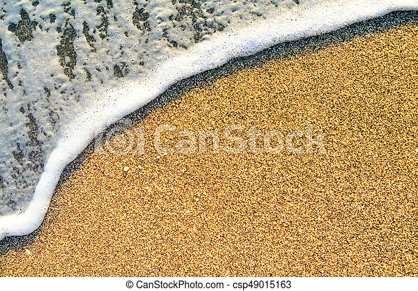 Summer Beach Background with Sea Waves and Sand. Travel and Vacation Concept. - csp49015163