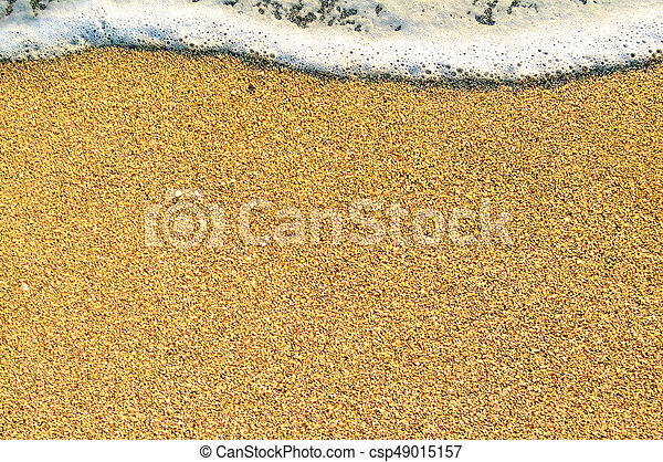 Summer Beach Background with Sea Waves and Sand. Travel and Vacation Concept. - csp49015157