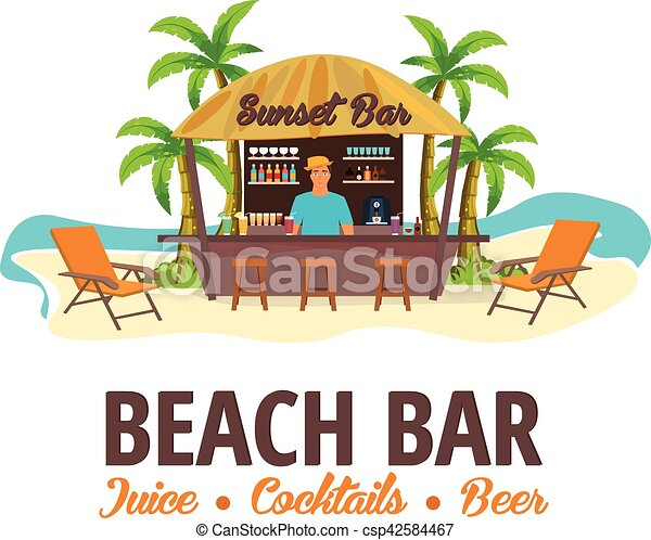 Summer Beach Bar Travel Juice Cocktails Beer Lounge Chair Vector Illustration