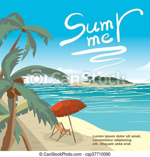 Summer Beach Concept Background With Space For Text Sea Landscape Summer Beach Palms Island Sun Umbrellas Beach Beds Vector Cartoon Flat
