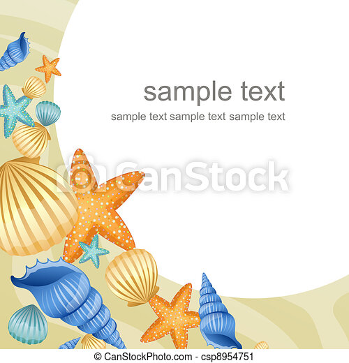 summer beach design vector illustration of seashells on a summer