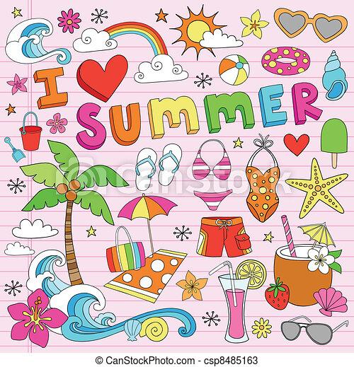 Summer Beach Doodles Vector Set - csp8485163