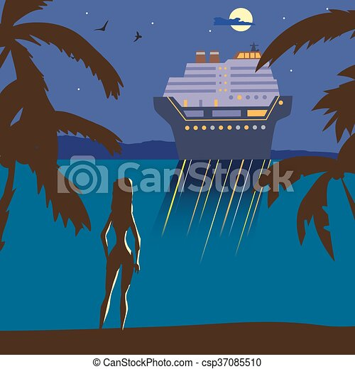 Summer Beach Landscape At Night Silhouette Of A Girl On The Lights Cruise Ship In