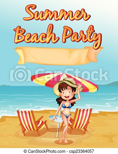 summer beach party theme poster rh canstockphoto com Pool Party Clip Art Pool Party Clip Art