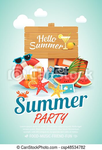 Summer Beach Party Invitation Poster Background Elements And Wooden