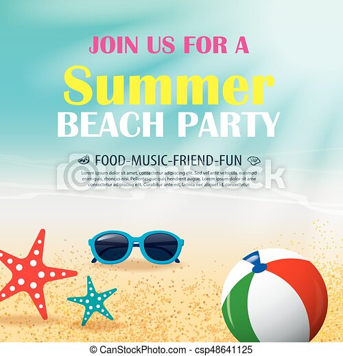 Summer beach party invitation poster with element and blue vector