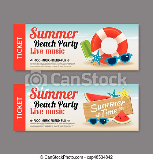 Summer beach party invitation ticket template background eps vector