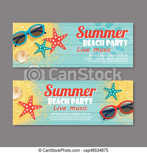 summer beach party invitation ticket template background - csp48534875