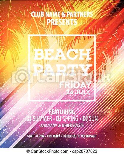 Summer Beach Party Vector Flyer Template Eps 10 Vector Illustration