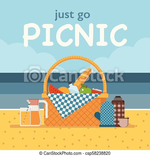 Summer Beach Picnic Card Or Invitation