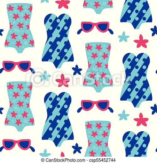 Summer beach seamless pattern