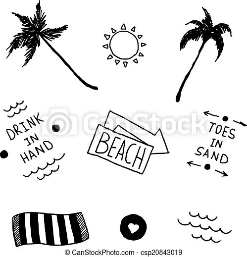 summer beach set in old school tattoo style vector. Black Bedroom Furniture Sets. Home Design Ideas