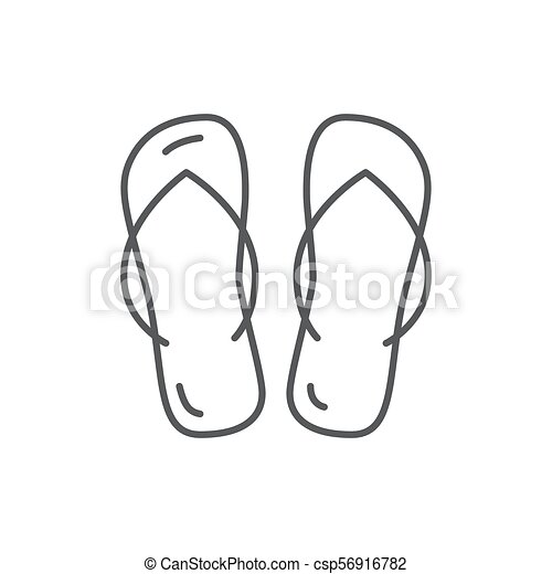 9d8a8a00a Summer beach shoes flip-flops editable icon isolated on white background.  pixel perfect element of women accessories for beach resort vacation