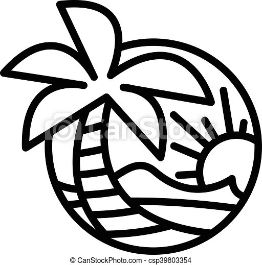 Summer Beach Waves Ocean Palm Tree Tropical Holiday Vacation Vector