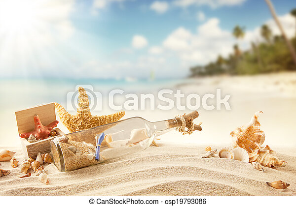 Summer beach with strafish and shells - csp19793086