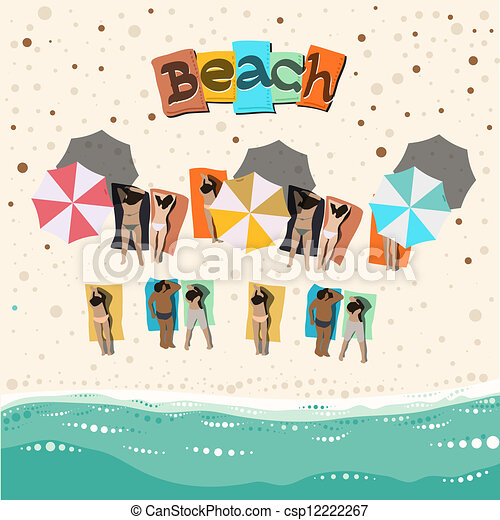 Summer Beach With Sunbathing People Vector